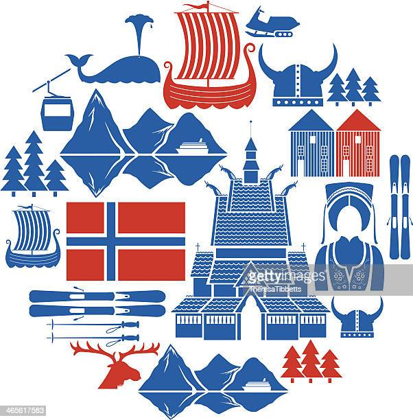 norwegian icon set - traditional clothing stock illustrations