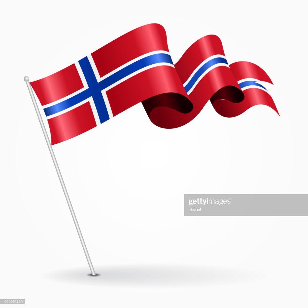 Norwegian pin wavy flag. Vector illustration.