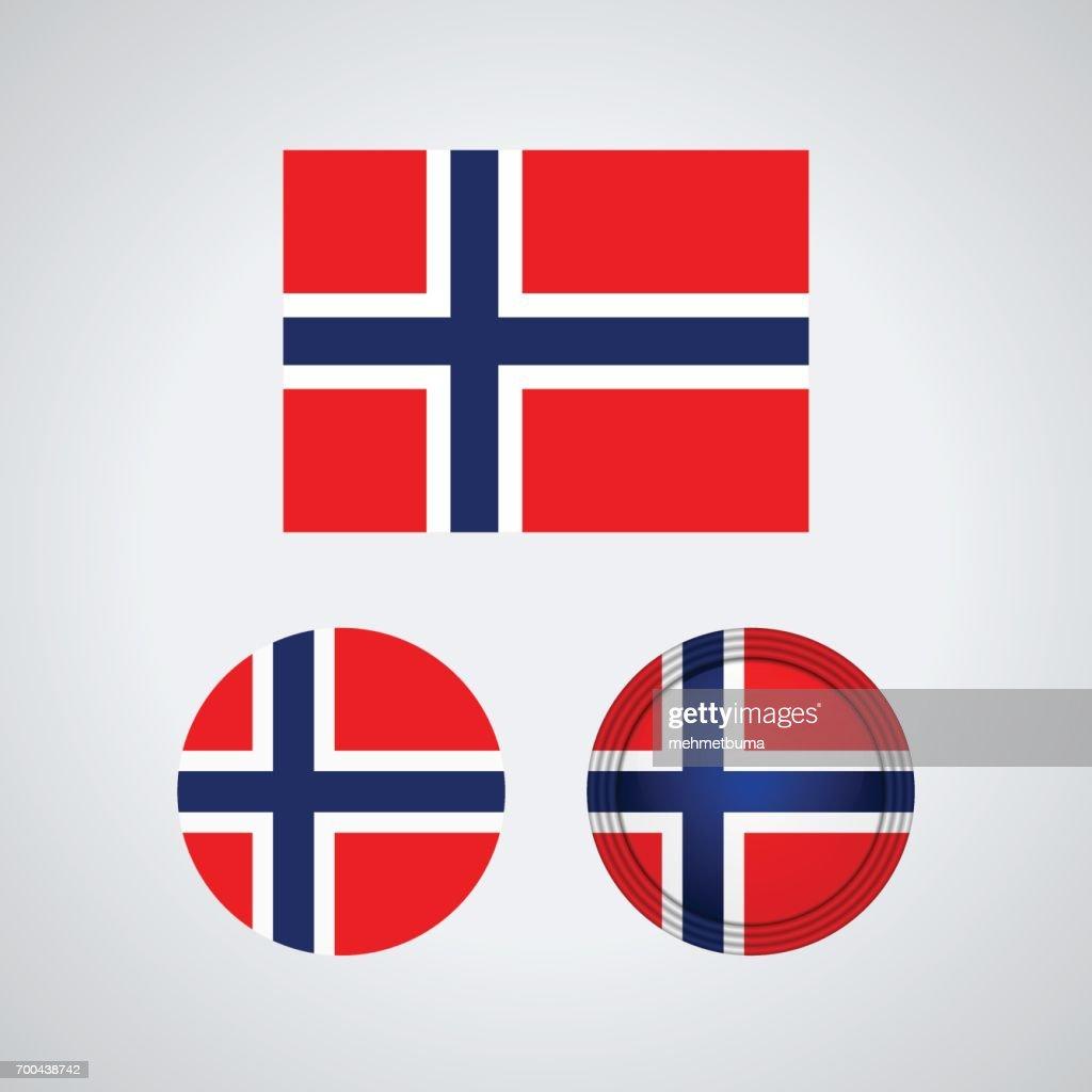 Norwegian trio flags, vector illustration