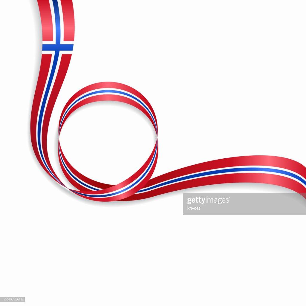 Norwegian wavy flag background. Vector illustration.