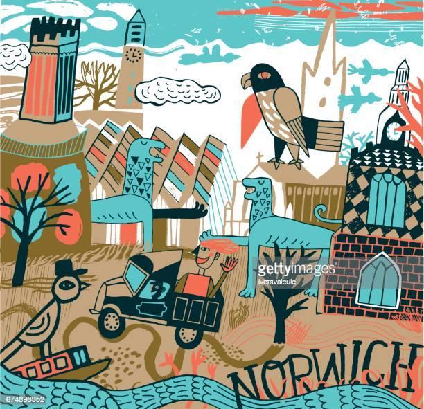 ilustraciones, imágenes clip art, dibujos animados e iconos de stock de norwich in norfolk united kingdom - puesto de mercado