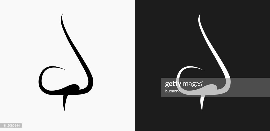 Nose Icon on Black and White Vector Backgrounds