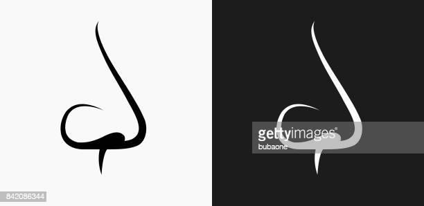 ilustrações, clipart, desenhos animados e ícones de ícone de nariz em preto e branco vector backgrounds - nariz