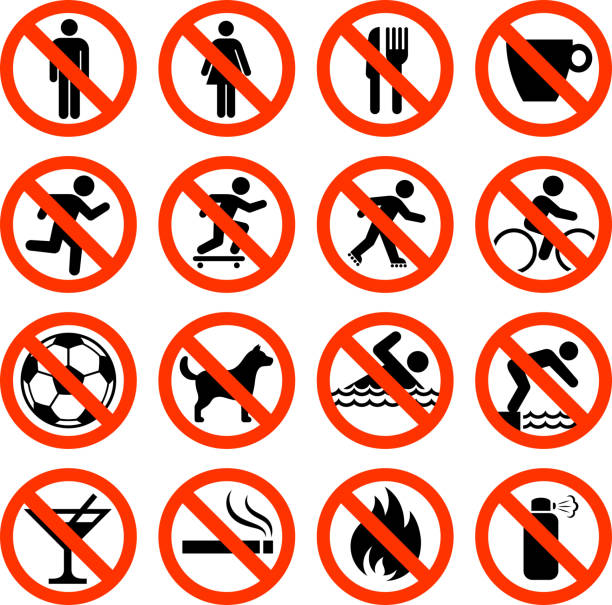 not allowed sign collection - skateboarding stock illustrations