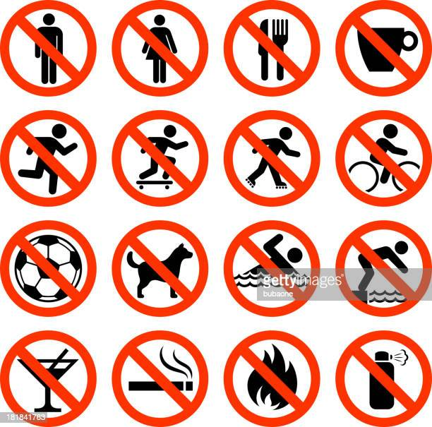 not allowed sign collection - no smoking sign stock illustrations