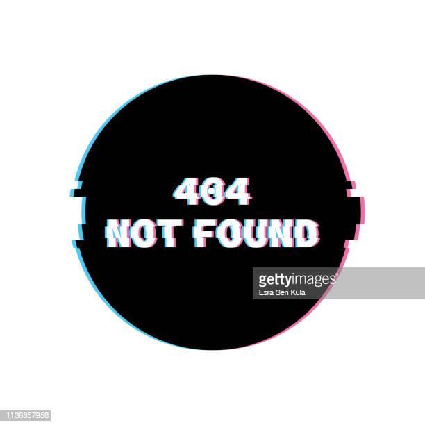 ilustrações, clipart, desenhos animados e ícones de 404 não encontrado banner com efeito de ruído glitch retro - mensagem de erro