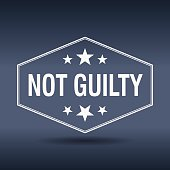 not guilty hexagonal white vintage retro style label