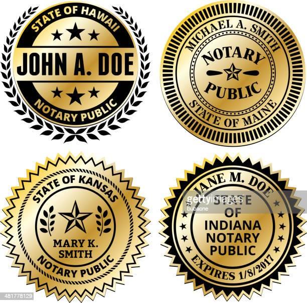 notary public seal set: hawaii through maryland - great seal stock illustrations, clip art, cartoons, & icons