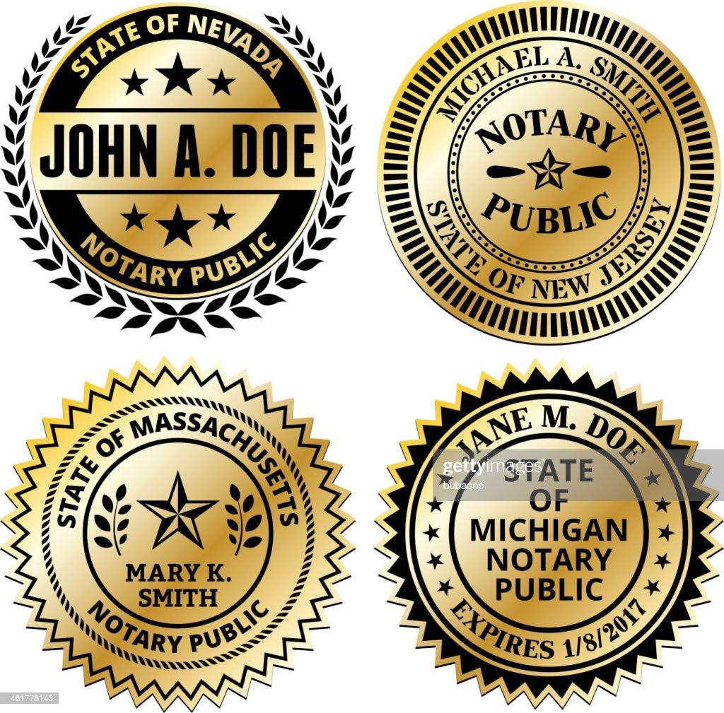 Notary Public Seal Set: Massachusetts through New Jersey