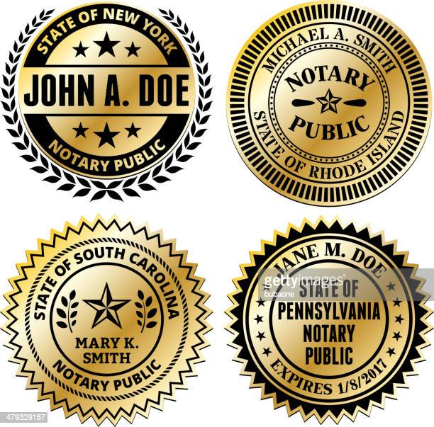 notary public seal set: new mexico through south carolina - great seal stock illustrations, clip art, cartoons, & icons
