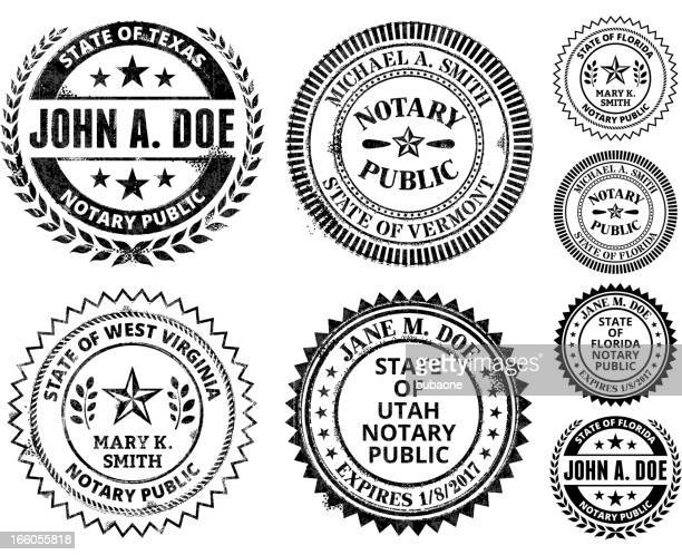 notary public seal set: south dakota through wyoming - great seal stock illustrations, clip art, cartoons, & icons