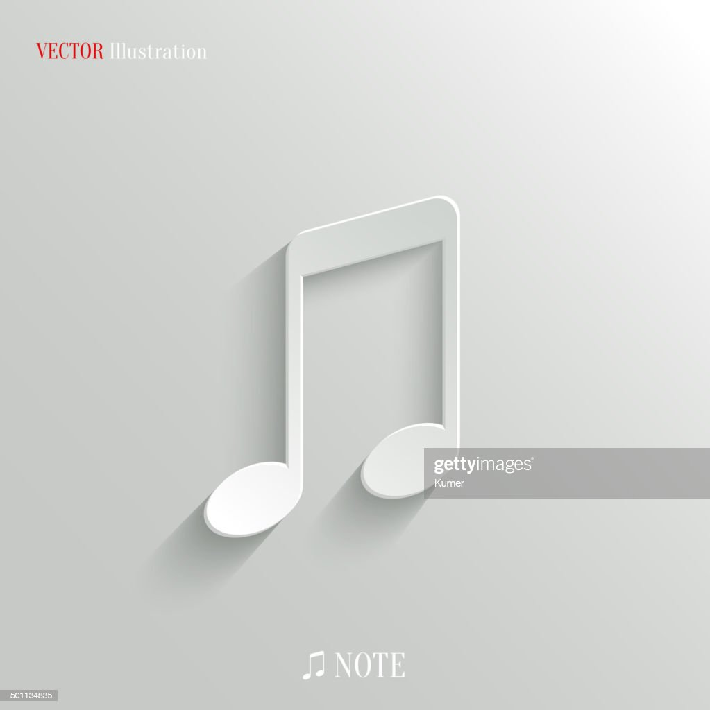 Note icon - vector white app button