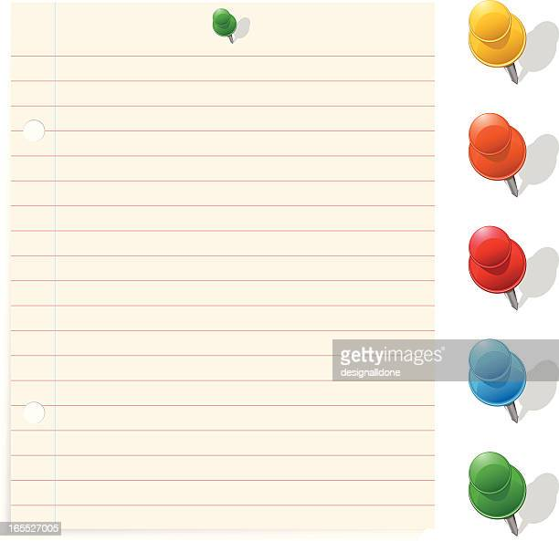 note paper and colorful push pins - exercise book stock illustrations