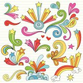 Note paper filled with psychedelic stars and swirls