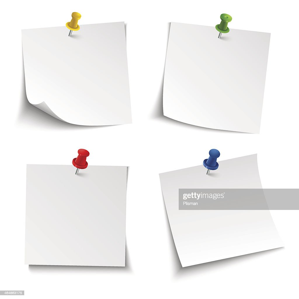 Note paper with push colored pin