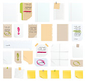 Note papers vector sticker business message planning page of notepad or sheets of nootbook and stickers for memos messages reminders isolated on white illustration