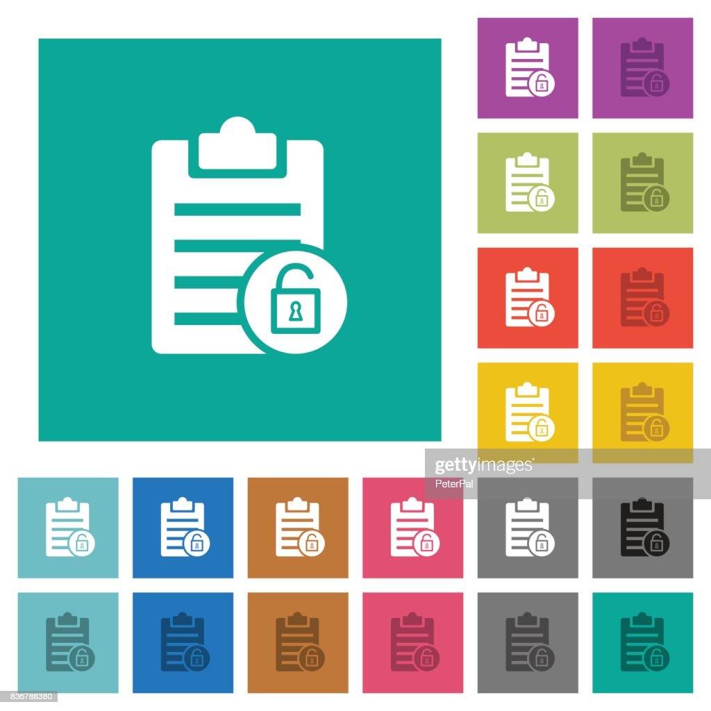 Note unlock square flat multi colored icons