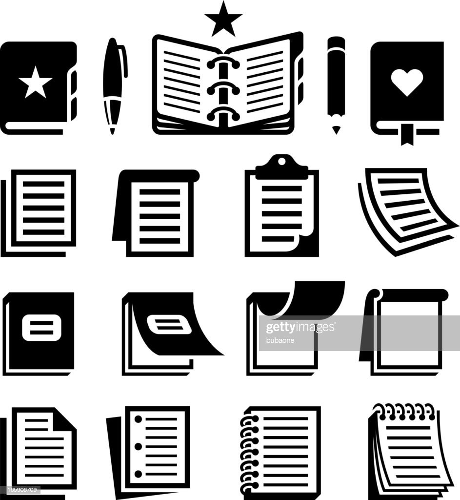 Notebook and Paper black & white vector icon set