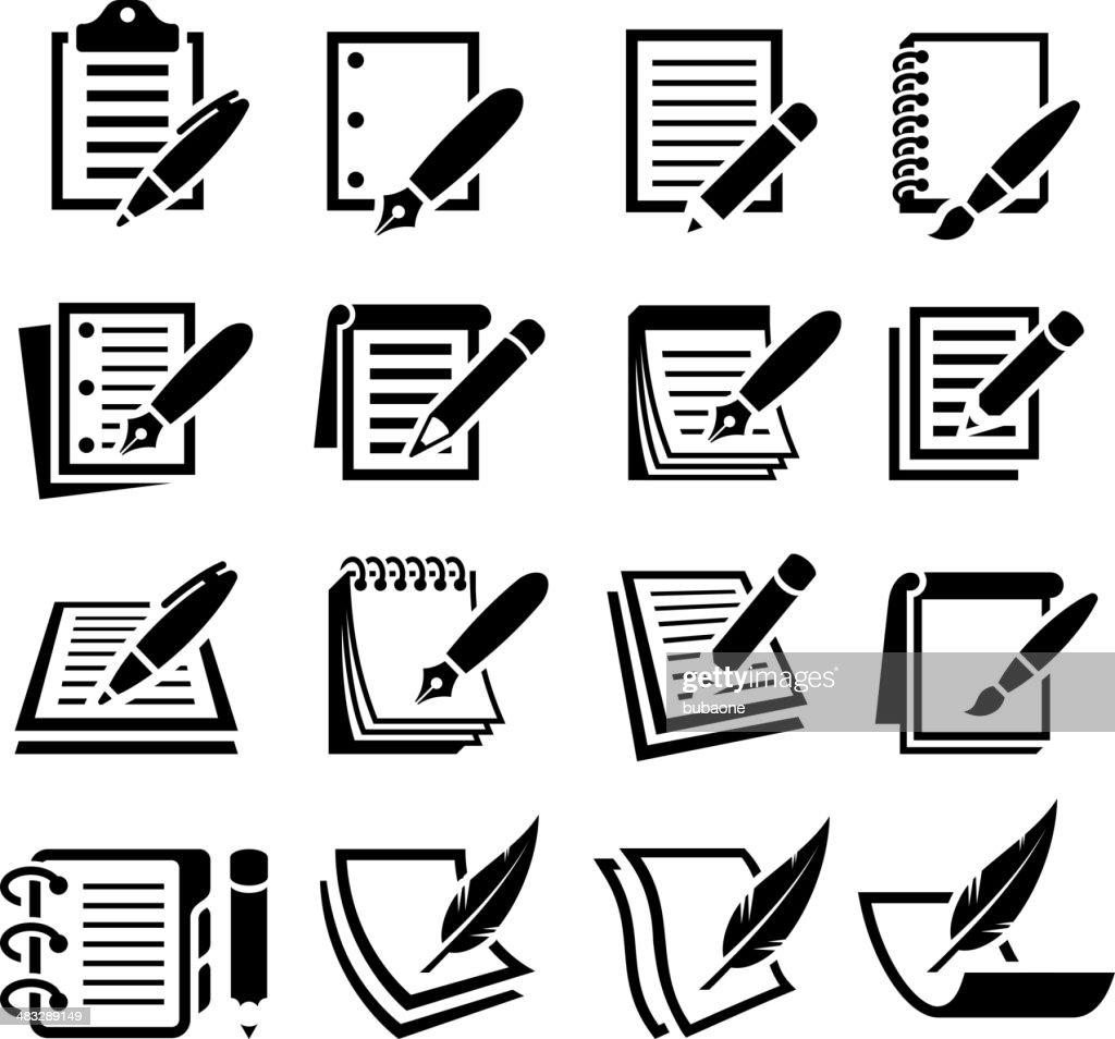 ノートやペンブラック&白のベクトルアイコンを設定します。 : ストックイラストレーション