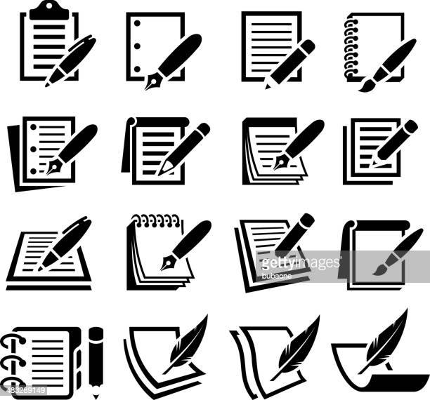 notebook and pen black & white vector icon set - legal document stock illustrations, clip art, cartoons, & icons