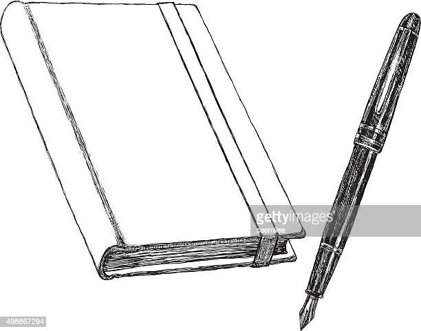 notebook and pen sketch - diary stock illustrations