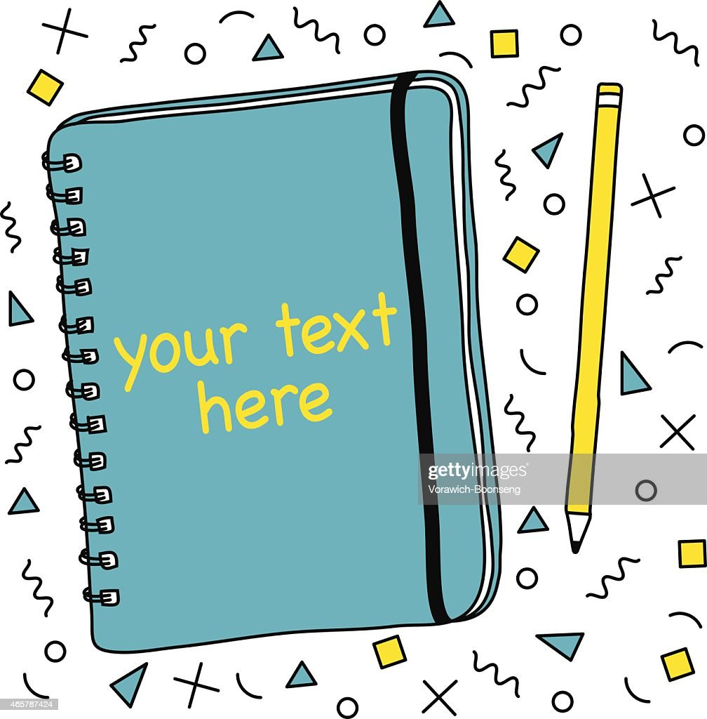 Notebook and Pencil, Geometry Pattern Background