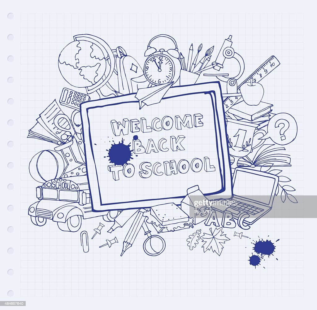 Notebook blackboard frame greeting card welcome back to school