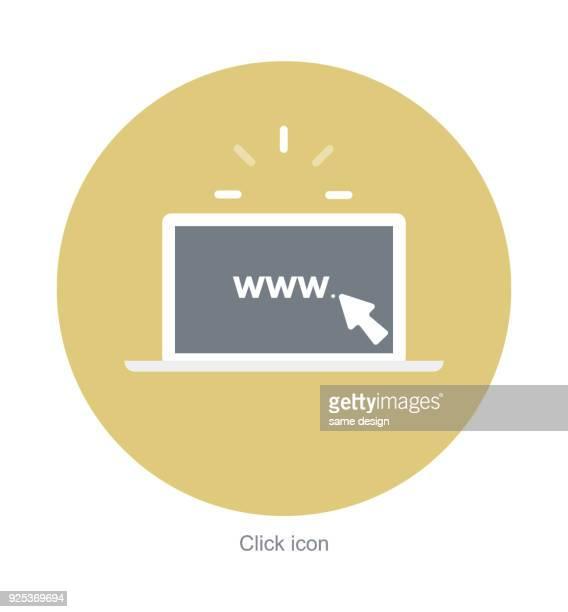 ilustrações, clipart, desenhos animados e ícones de caderno computador plano ícone, negócio na internet, promoção da web, usando laptop - submita busca