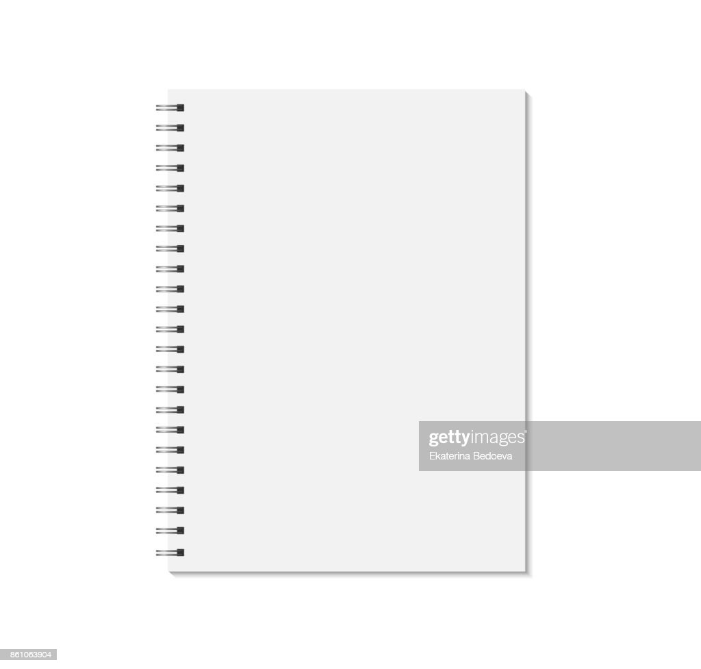 Notebook mock up isolated on white background. Blank pages, copybook with metal spiral template.