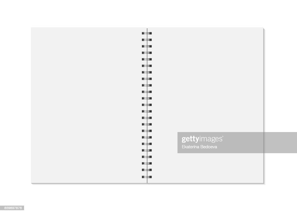 Notebook mock up isolated on white background. Clean pages, copybook with metal spiral template.