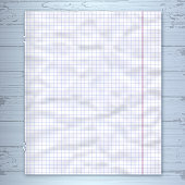 Notebook page design template, lined paper wooden background. Vector mockup