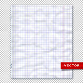Notebook page, lined paper transparent background. Design template, vector mockup