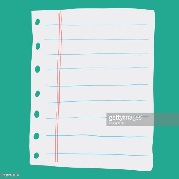 notebook page - lined paper stock illustrations