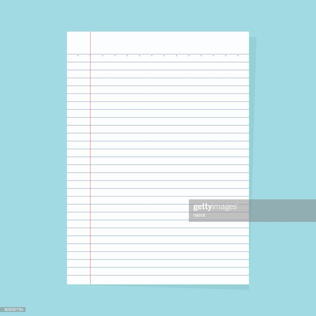 Notebook paper isolated on a blue background