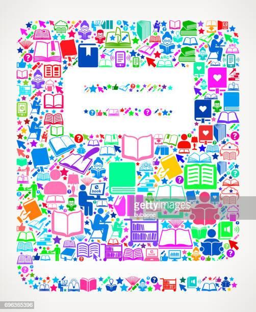 ilustrações, clipart, desenhos animados e ícones de livros de leitura do caderno e fundo do ícone educação vector - livro de exercícios