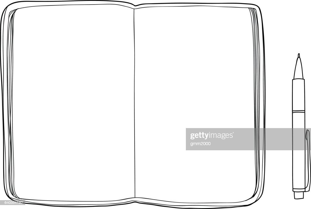 notebook sketchbook Mockup  blank paper and  Pen  hand drawn vec