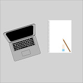 Notebook, Tablet, pencil and coffee cup with copy space isolated on background.Vector illustration
