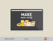 Notebook with 200 Indian Rupee Banknote. Flat style vector illustration. Finance concept.