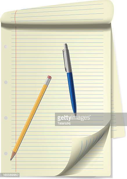 notebook with pencil and pen - ballpoint pen stock illustrations, clip art, cartoons, & icons