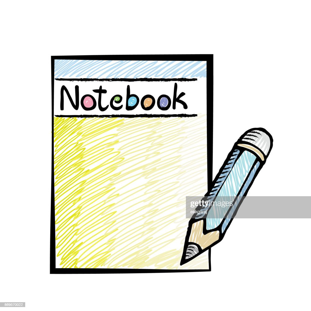 Notebook with pencil. Notepad in doodles style.