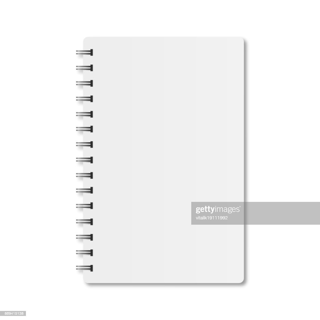 Notebook with spiral and shadow on a white background