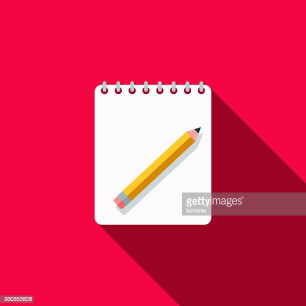notebooks flat design school supplies icon with side shadow - note pad stock illustrations