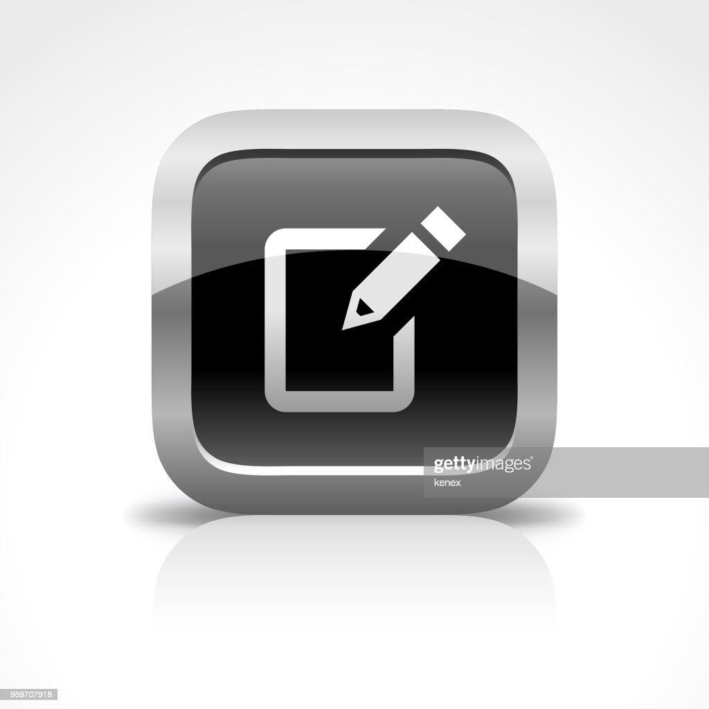 Notizblock und SMS glänzend Schaltflächensymbol : Stock-Illustration