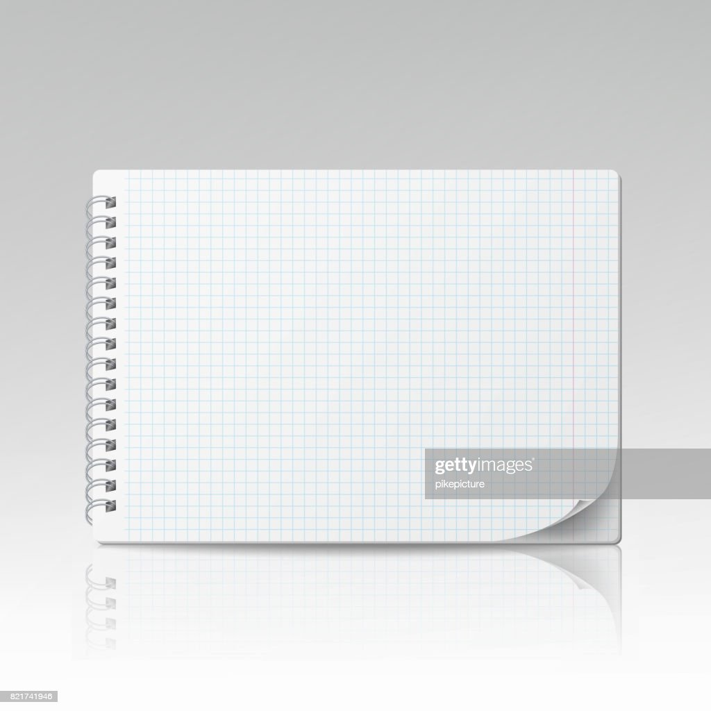 Notepad Blank Vector. 3D Realistic Notebook Mockup. Blank Notebook With Clean Cover