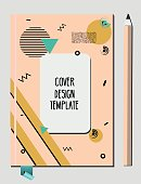 Notepad, book cover design template with abstract 80s 90s style geometric memphis style pattern