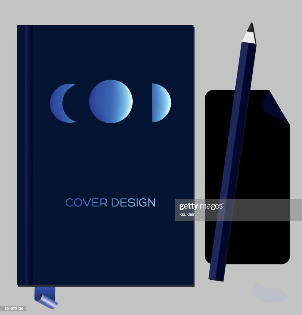 Notepad Book Cover Design Template With Abstract Geometric Glowing