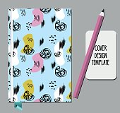 Notepad, book cover design template with abstract hand drawn 80s 90s style pattern