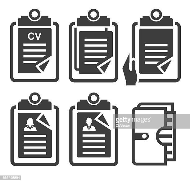notepad icon set - paperboard stock illustrations