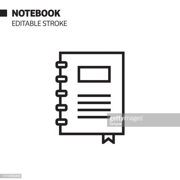 notepad line icon, outline vector symbol illustration. pixel perfect, editable stroke. - spiral notebook stock illustrations