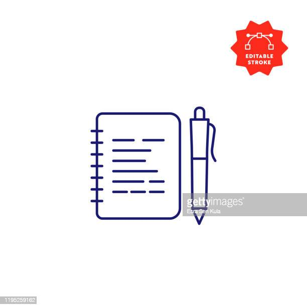 notepad line icon with editable stroke and pixel perfect. - spiral notebook stock illustrations
